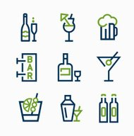 different kind of drink icons  vector icon set