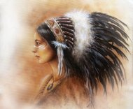 young indian woman wearing a big feather headdress, a profile