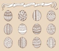 Ink hand-drawn doodle vector Easter set with eggs