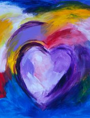abstract colorful heart painting