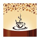 Coffee Cup and Beans Illustration