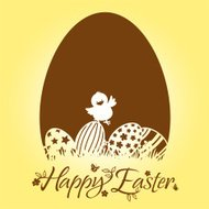Easter Chick Chocolate Egg Design Element