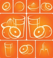 Orange juice design elements