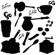Vector silhouette of the elements of coffee