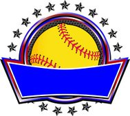 Yellow Softball Circle Banner