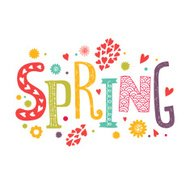 Lettering Spring with decorative floral elements