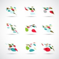 set of abstract color polka dot icon for design