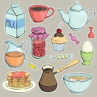 vector breakfast set