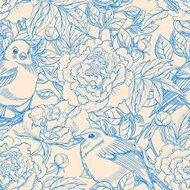 blue beige birds and peonies