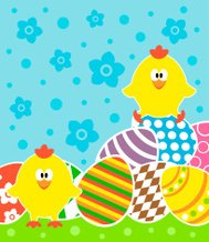 Easter background with chickens and eggs