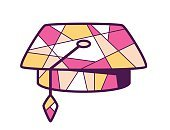 Vector illustration of pink and yellow graduation cap on light
