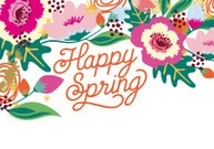 Happy Spring card with a flower arrangement.