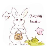 Happy Easter vector illustration with white Easter rabbit