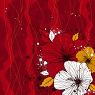 bouquet of hibiscus on red background
