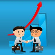 Handshake  with business growth graphs background.EPS10