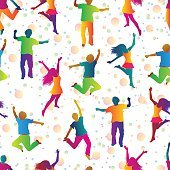 bright seamless background with jumping people