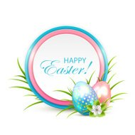 Easter eggs with banner and flower