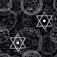 Pattern with mystic symbols and pentacle on black