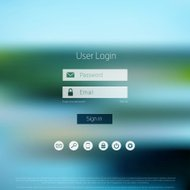 Login form page. with blurred background. Web site template, ui