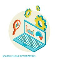 Isometric design modern concept of website analytics and SEO dat