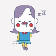 Character illustration design. Businesswoman dozing cartoon,eps