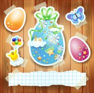 Easter background with paper elements and copy space