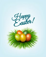 Happy Easter background. Colorful easter eggs in green grass. Ve