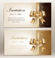 wedding invitation with golden ribbon and bow