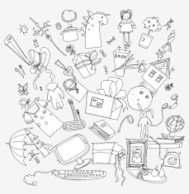 background made of toys, Sketch collection