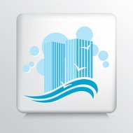 Square Icon with Blue Beach Resort and Waves Silhouette