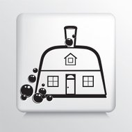Square Icon with Black Line Art Dustpan House