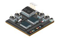 Large isometric industrial power station.