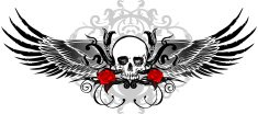 black wing skull with flourishes and roses