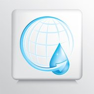 Square Icon with Blue Arrow Around Globe and Water Drop