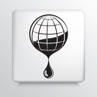 Square Icon with Black Line Art Globe and Drop Dripping