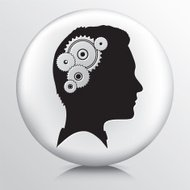 Round Icon with Gears Turning in Black Head Silhouette