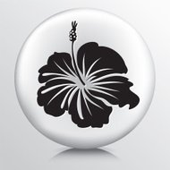 Round Icon with  Hibiscus Flower Black Silhouette