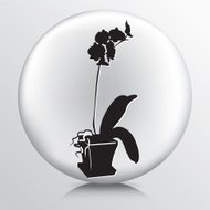 Round Icon with Black Orchid Silhouette in Pot