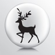 Round Icon with Black Walking and Prancing Deer Silhouette