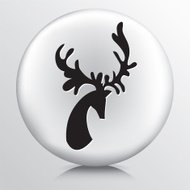Round Icon with Black Deer Head and Antlers Silhouette