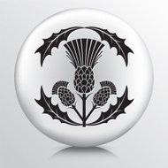 Round Icon with  Black Thistle and Leaves