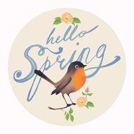 Spring season design element with calligraphy and bird on branch