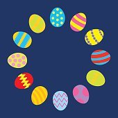 Colored Easter egg set round frame on blue template Flat