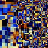 Abstract Artsy Overlapping Squares. Blue Orange Black White Colored Background.