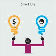 Happy young man symbol with smart life concept.