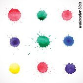 9 watercolor blots on white background