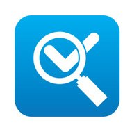 Check mark on blue button,clean vector