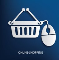 Online shopping design on blue background,clean vector