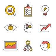 Flat set of modern vector icons and symbols on business