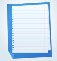 Lined exercise sheets and sheet of blue paper with crumpled